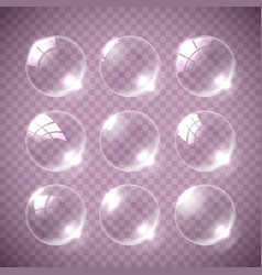 realistic soap bubble pink colors vector image