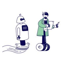 robots help human in life working in office vector image