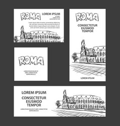 rome trip banner set with colosseum vector image