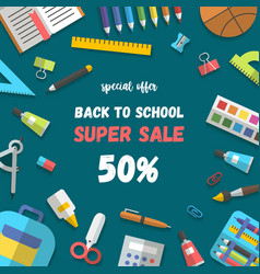 Sale poster set of randomly arranged school vector