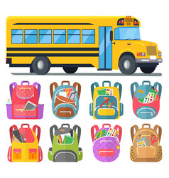 School bus and schoolbags with stationery or books vector
