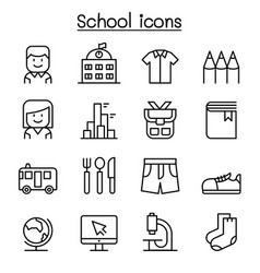 School education icon set in thin line style vector