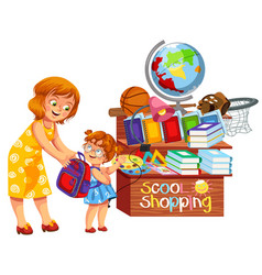 School shopping colorful poster vector