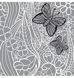 Seamless lacy pattern with flowers and butterflies vector image