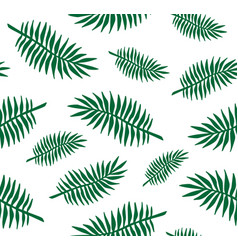 seamless pattern palm tree leaves silhouette vector image