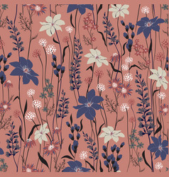 seamless texture retro wild flower pattern vector image