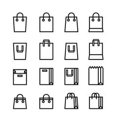 set minimal shopping bag line icons vector image