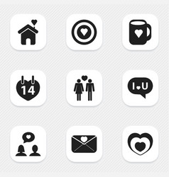 set of 9 editable love icons includes symbols vector image