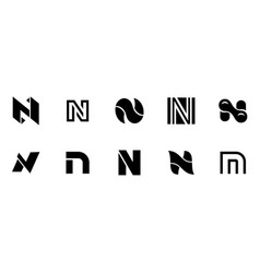 set of letter n logo vector image
