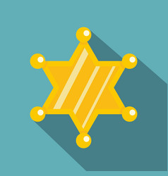 Sheriff star icon flat style vector