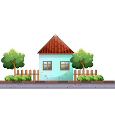 Single house on the road vector