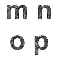 Sketch font set - lowercase letters m n o p vector