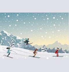 Skiing people vector