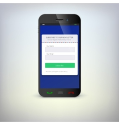Smartphone with a subscription form vector
