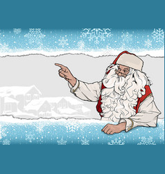 snowflake background with santa claus vector image