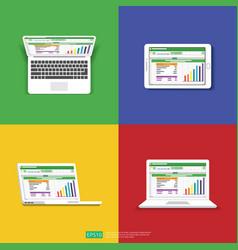 Spreadsheet on computer screen flat icon vector
