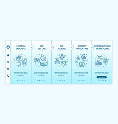 Staycationing advantages onboarding template vector