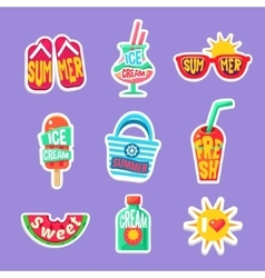 Summer Beach Holidays Stickers With Text vector