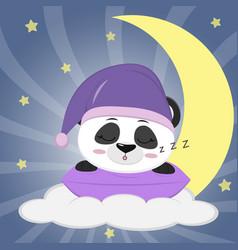 Sweet panda in a violet hat for sleeping sleeping vector