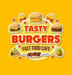 tasty burger takeaway fast food cafe poster vector image