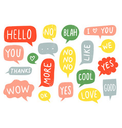 Textured speech bubble signs thanks sign yes and vector