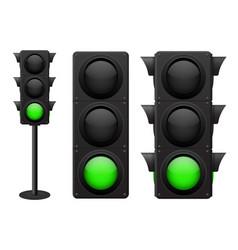 traffic lights green light on vector image