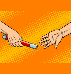 transfer of baton pop art vector image