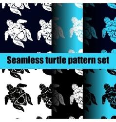 Turtle pattern set vector