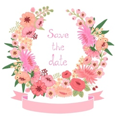 Vintage card with floral wreath save date vector
