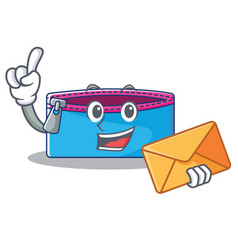 With envelope pencil case character cartoon vector