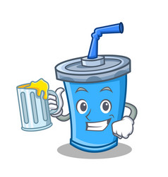 With juice soda drink character cartoon vector