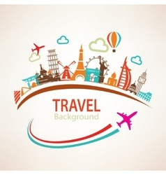 World travel landmarks silhouettes icons set vector