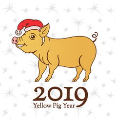 yellow earth pig symbol of 2019 on the vector image