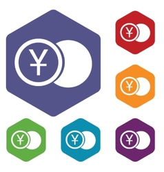 Yen coin rhombus icons vector image