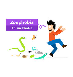 Zoophobia man shocked when see the animals vector