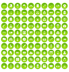 100 offence icons set green circle vector image vector image