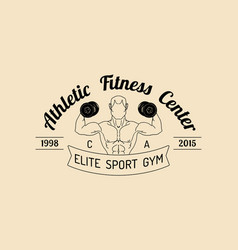 Fitness logo hand sketched athletic vector