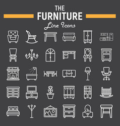 furniture line icon set interior sign collection vector image vector image