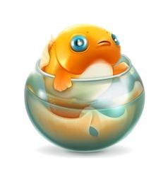 Goldfish in aquarium vector