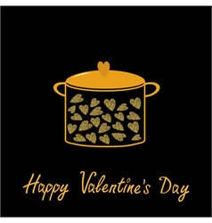 Happy Valentines Day Love card Pot with hearts vector image vector image