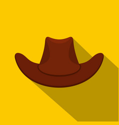 Brown cowboy hat icon flat style vector