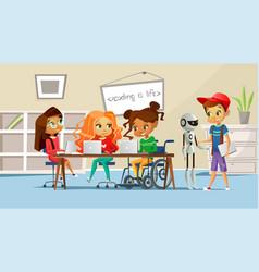 children in school classroom vector image