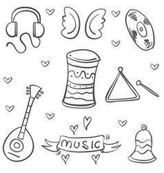 doodle musical instrument theme art vector image vector image