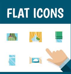 flat icon window set of cloud curtain balcony vector image vector image