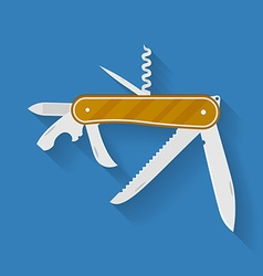 Icon of knife Multi functional camping and hiking vector image