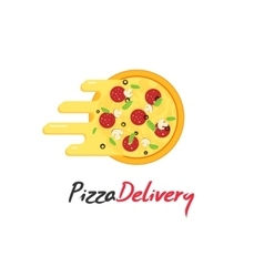 Pizza delivery logo isolated on white vector image