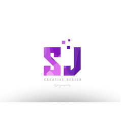 sj s j pink alphabet letter logo combination with vector image