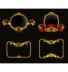 Vintage emblem set on black vector image vector image