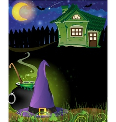 Witch hat cauldron and haunted house vector image