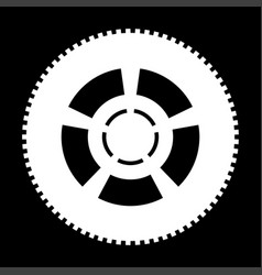 Car wheel the white color icon vector